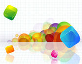 Color abstract with transparent cubes. — Stock Vector