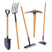 Gardening groundworks tools. — Stock Vector