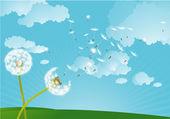 Dandelion in the wind. — Stock Vector