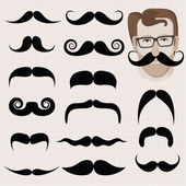 Set of hipster and retro mustaches — Stock Vector