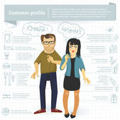 Customer profile infographic vector template. — Stock Vector