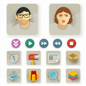 Flat user interface vector icon set. — Stock Vector