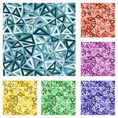 Vector seamless triangle texture set. — Stock Vector