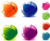 Divided spheres. — Vector de stock