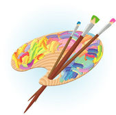 Artists palette and brushes. — Vetorial Stock