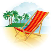 Chaise lounge on a beach. — Stock Vector