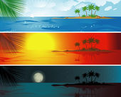 Tropic resort daytime vector banners. — Stock Vector