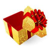 Golden gift box. — Vector de stock