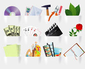 Paper pockets multimedia and web icon set. — Stock Vector