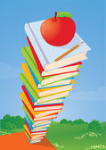 Stack of books, apple and pencil. — Stock Vector