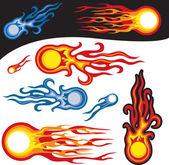 Fire Balls, vector symbols — Stock Vector