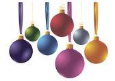 Set of 7 color Christmas balloons. — Stock Vector