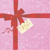 Valentijnsdag geschenk met tag en boog. — Stockvector