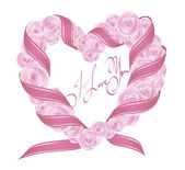 Vector rose heart with ribbon — Stock Vector