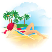 Pretty girl at the tropical beach. — Stock Vector