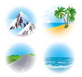 Landscape vector icon set. — Vettoriale Stock