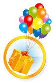 Fliegende luftballons mit geschenk-box. — Stockvektor