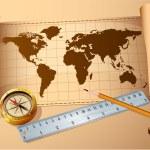 Vintage map, golden compass steel ruler — Stock Vector