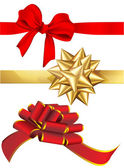 Holiday red and golden bows set. — Stock Vector