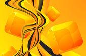 Orange wave flow abstract vector background — Stock Vector