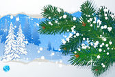 Winter vector abstract with snowbound fir-trees. — Stock Vector