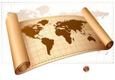 Vintage vector scrolled world map. — Stock Vector
