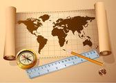 Vintage map, golden compass steel ruler — Stockvector