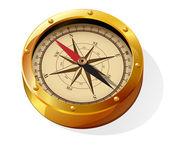 Golden compass. — Stock Vector