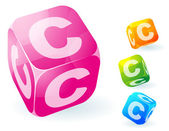 Cubes abc vector transparent brillant. — Vecteur