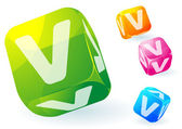Glossy transparent vector abc cubes. — Vettoriale Stock