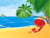 Playa tropical. — Vector de stock