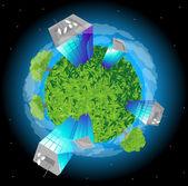 Green planet. — Stock Vector