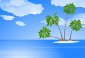 Tropical island with coconut palm trees. — Stock Vector