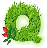 Vector grass letter. — Stock Vector