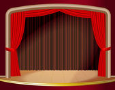 Red stage curtain. — Stock Vector