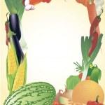 Fresh vegetables vector frame. — Stock Vector #45204951