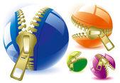 Unzipped glossy spheres. — Stock Vector