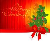 Christmas holly decoration — Stock Vector