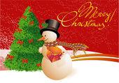 Christmas snowmen. — Stock Vector