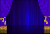 Blue stage curtain. — Stock Vector