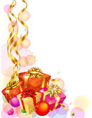 Christmas decoration with wrapped gifts — ストックベクタ