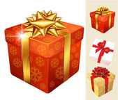 Decorated Christmas gift boxes — Stock Vector