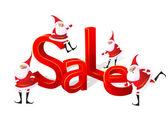 Big Christmas sale with Santa. — Stock Vector