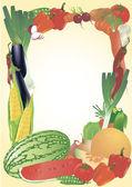 Fresh vegetables vector frame. — Stock Vector