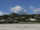 View of the village Costa Rei at the coast of the same name in the southeast of Sardinia, Italy, Europe — Stock Photo