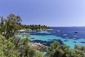 Coastal landscape nearby Saint-Clair, Le Lavandou, Baie de Gaou, Cote d'Azur, French Riviera, France, Europe — Stock Photo