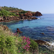 Esterel massif with porphyry rocks, Cote d'Azur, French Riviera, Southern France, Europe - Stock Photo
