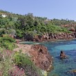 Stock Photo: Massif de lEsterel, Esterel masif with porphyry rocks, Cote dAzur, Southern France, Europe