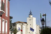 Port Grimaud, village church with a quadratic tower, Cote d'Azur, Cote dAzur, French, Riviera, Southern France, Europe — Stock Photo