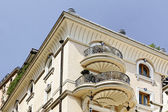 Monaco, building detail with round balconies, Southern Europe — Stock Photo